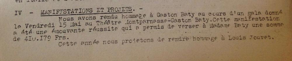 (Homage à Gaston Baty - Rapport moral de 1953)