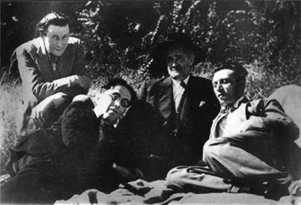 de gauche à droite : Charles Dullin, Georges Pitoeff, Gaston Baty, Louis Jouvet