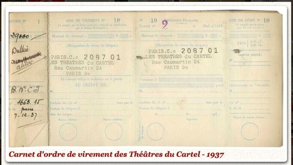 Carnet d'ordre de virement (Archives ART)
