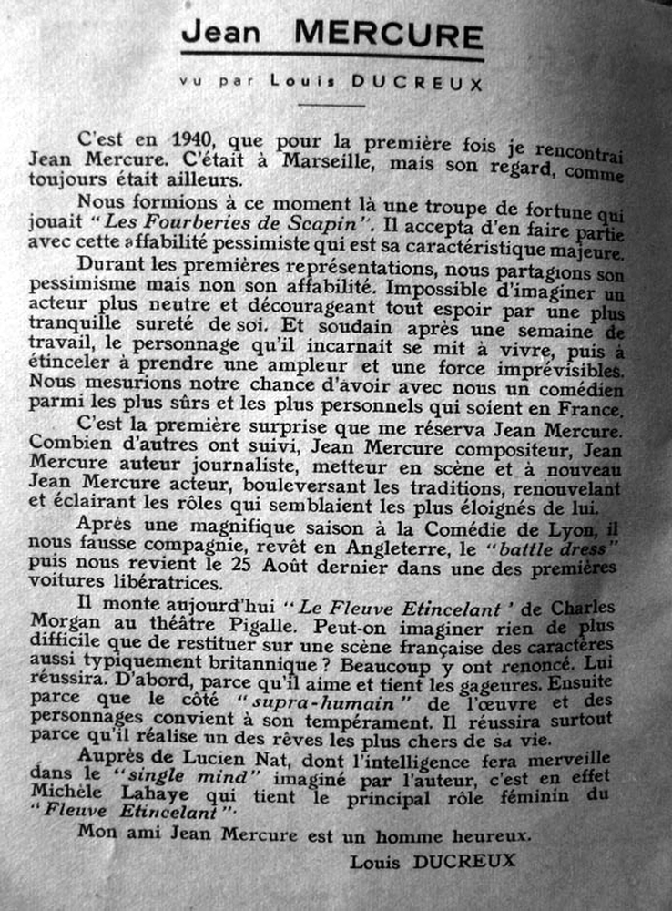(Texte de Louis Ducreux sur Mercure, après la guerre)