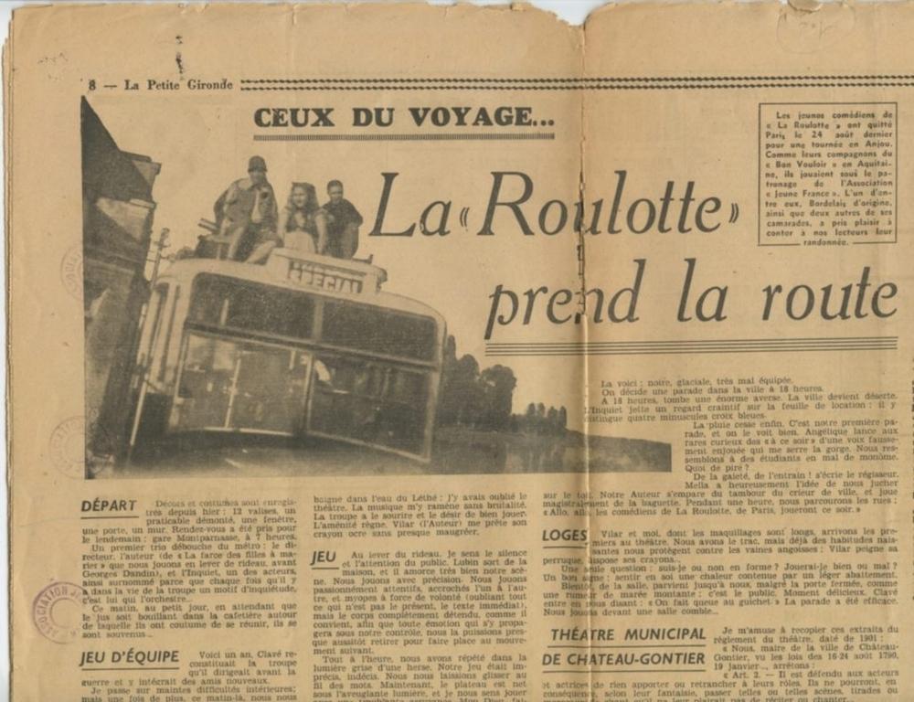 Article de presse sur La Roulotte d'André Clavé