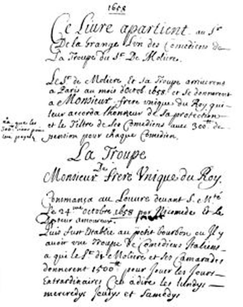 Première page du Registre de La Grange